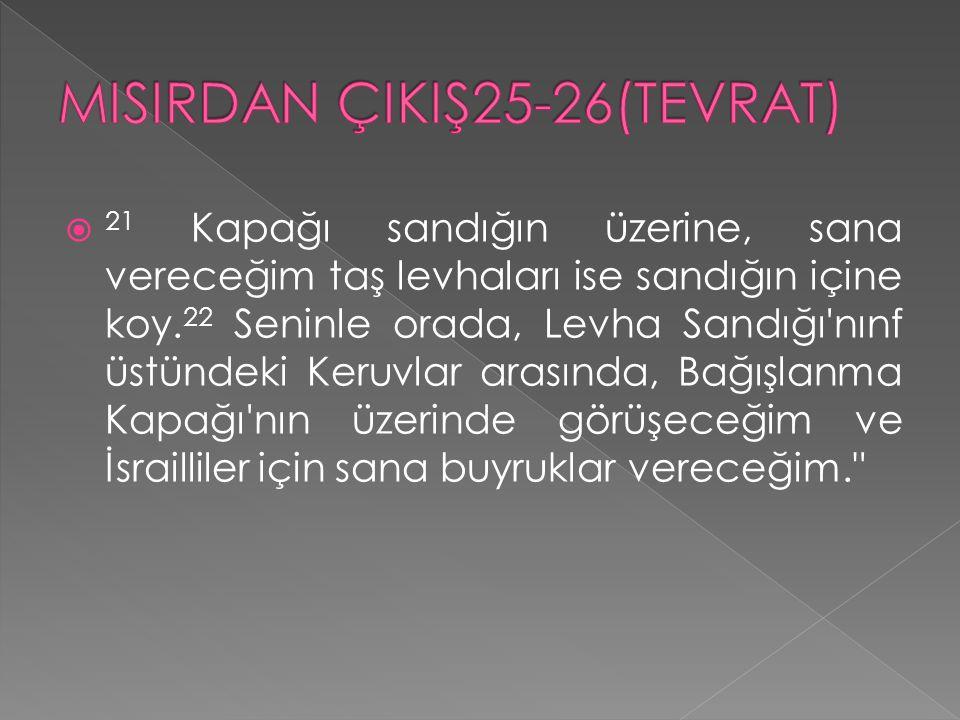 MISIRDAN ÇIKIŞ25-26(TEVRAT)