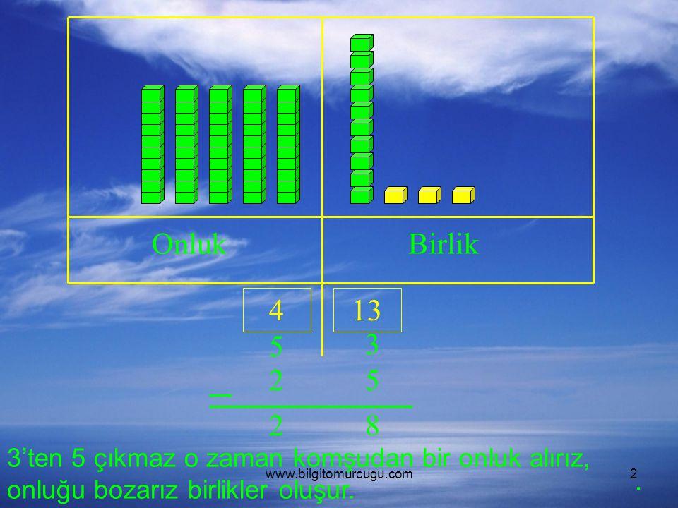 Onluk Birlik. 4. 13. 5. 3. 2. 2. 8. 3'ten 5 çıkmaz o zaman komşudan bir onluk alırız, onluğu bozarız birlikler oluşur.