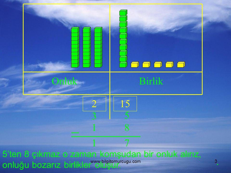 Onluk Birlik. 2. 15. 3. 5. 1. 8. 1. 7. 5'ten 8 çıkmaz o zaman komşudan bir onluk alırız, onluğu bozarız birlikler oluşur.