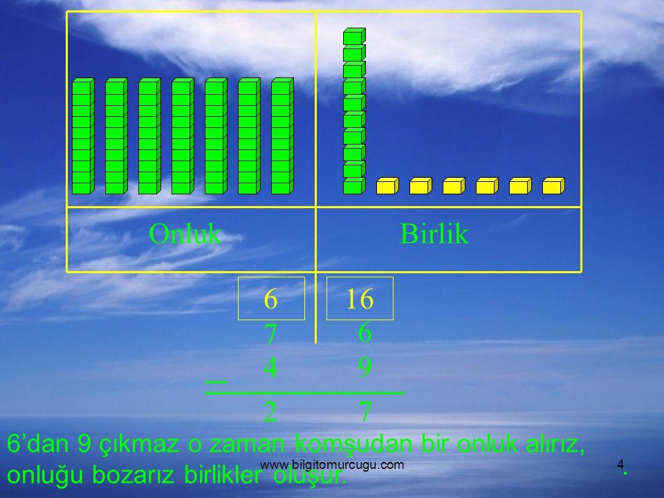 Onluk Birlik. 6. 16. 7. 6. 4. 9. 2. 7. 6'dan 9 çıkmaz o zaman komşudan bir onluk alırız, onluğu bozarız birlikler oluşur.