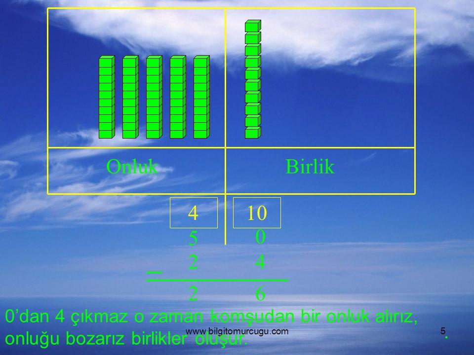 Onluk Birlik. 4. 10. 5. 2. 4. 2. 6. 0'dan 4 çıkmaz o zaman komşudan bir onluk alırız, onluğu bozarız birlikler oluşur.