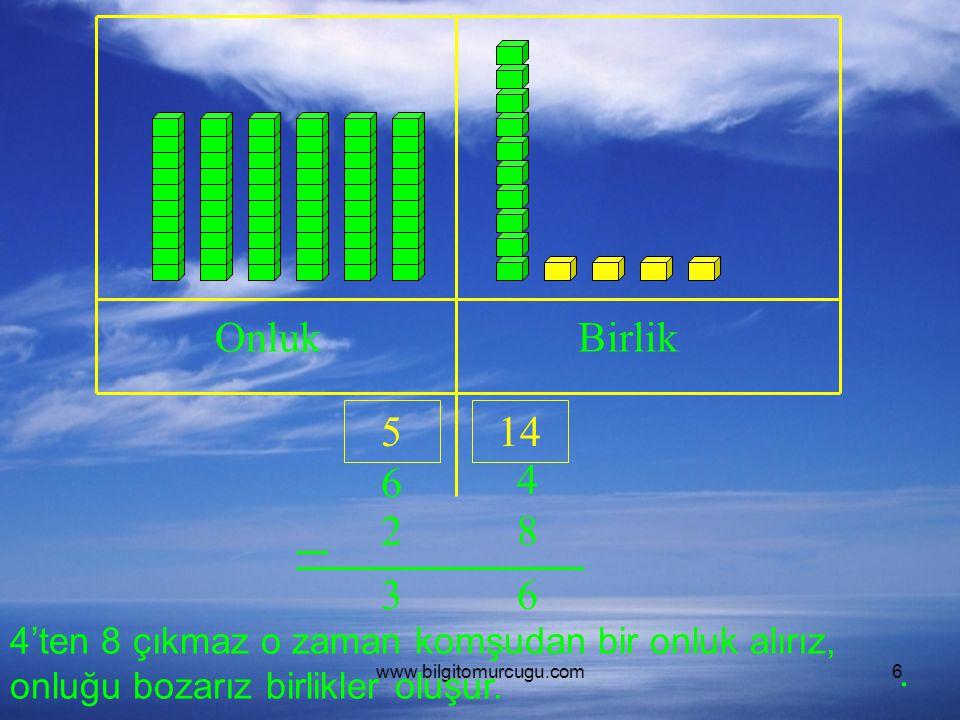 Onluk Birlik. 5. 14. 6. 4. 2. 8. 3. 6. 4'ten 8 çıkmaz o zaman komşudan bir onluk alırız, onluğu bozarız birlikler oluşur.