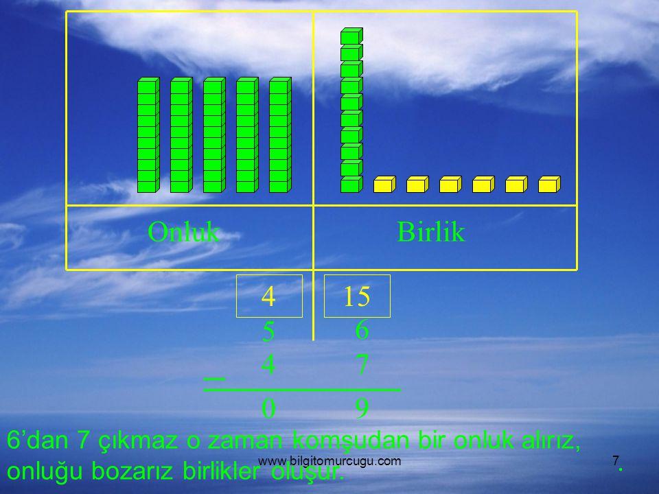 Onluk Birlik. 4. 15. 5. 6. 4. 7. 9. 6'dan 7 çıkmaz o zaman komşudan bir onluk alırız, onluğu bozarız birlikler oluşur.