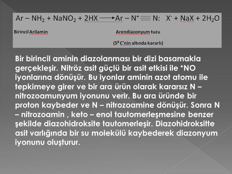 Bir birincil aminin diazolanması bir dizi basamakla gerçekleşir