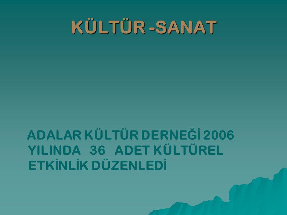 KÜLTÜR -SANAT ADALAR KÜLTÜR DERNEĞİ 2006 YILINDA 36 ADET KÜLTÜREL ETKİNLİK DÜZENLEDİ