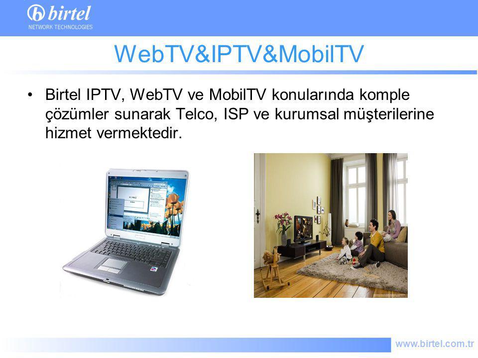 WebTV&IPTV&MobilTV Birtel IPTV, WebTV ve MobilTV konularında komple çözümler sunarak Telco, ISP ve kurumsal müşterilerine hizmet vermektedir.