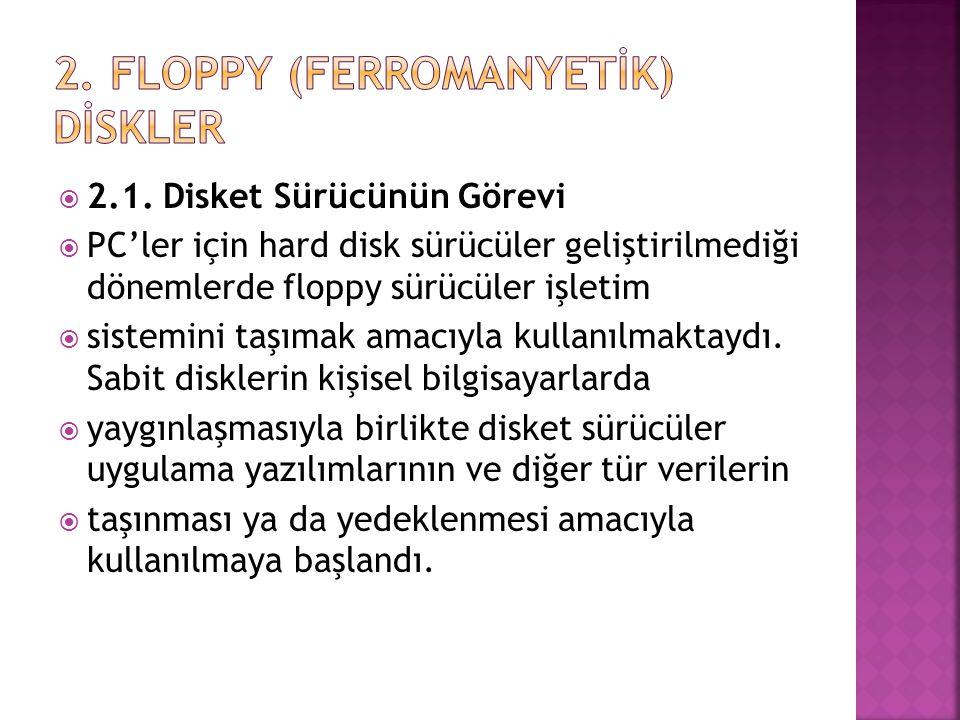 2. FLOPPY (FERROMANYETİK) DİSKLER