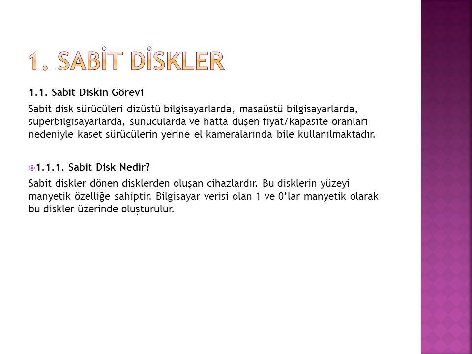 1. SABİT DİSKLER 1.1. Sabit Diskin Görevi