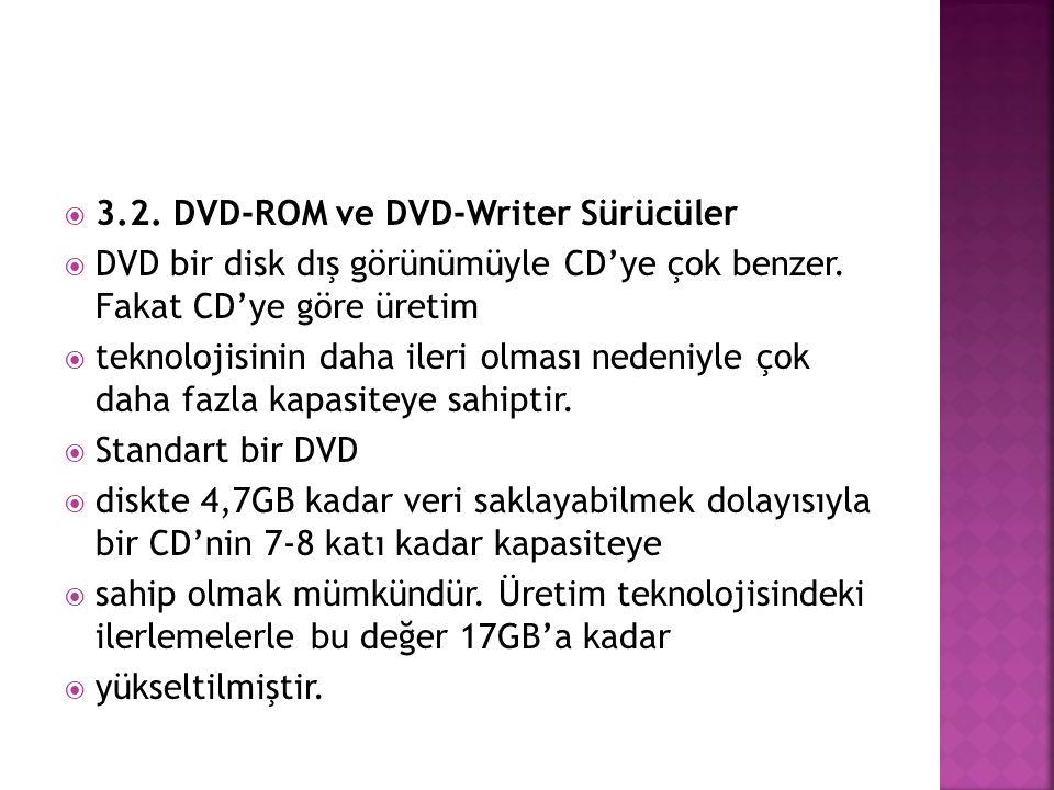 3.2. DVD-ROM ve DVD-Writer Sürücüler