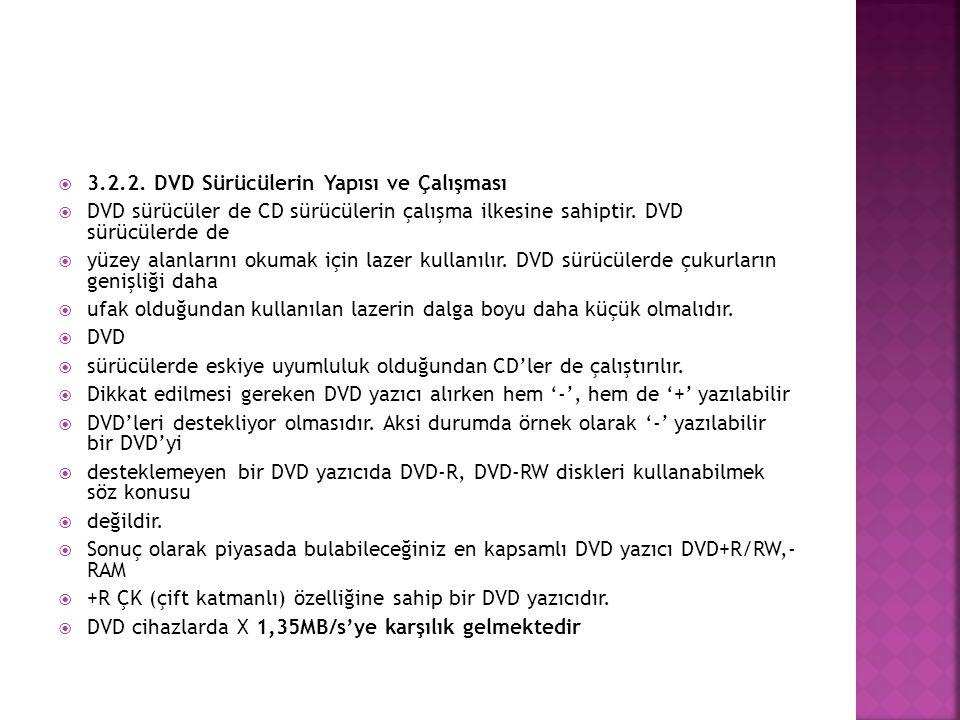 3.2.2. DVD Sürücülerin Yapısı ve Çalışması