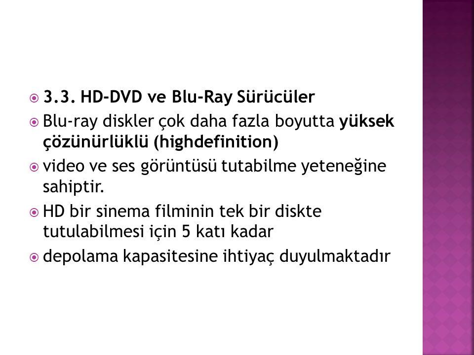 3.3. HD-DVD ve Blu-Ray Sürücüler