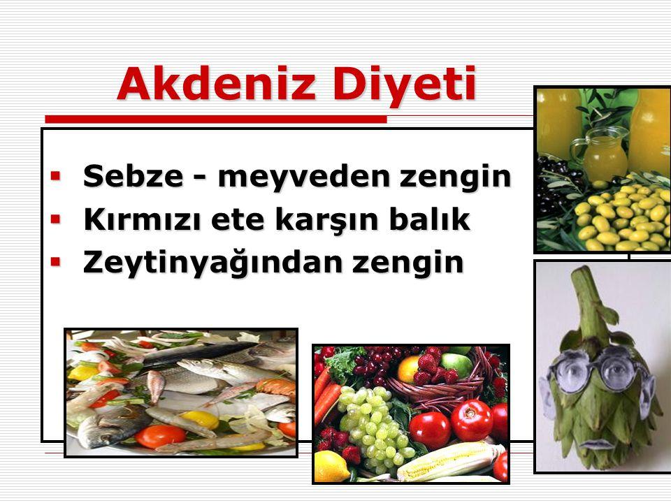 Akdeniz Diyeti Sebze - meyveden zengin Kırmızı ete karşın balık