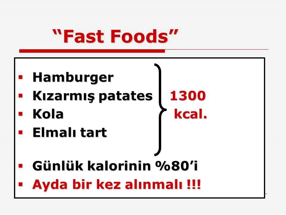 Fast Foods Hamburger Kızarmış patates 1300 Kola kcal. Elmalı tart