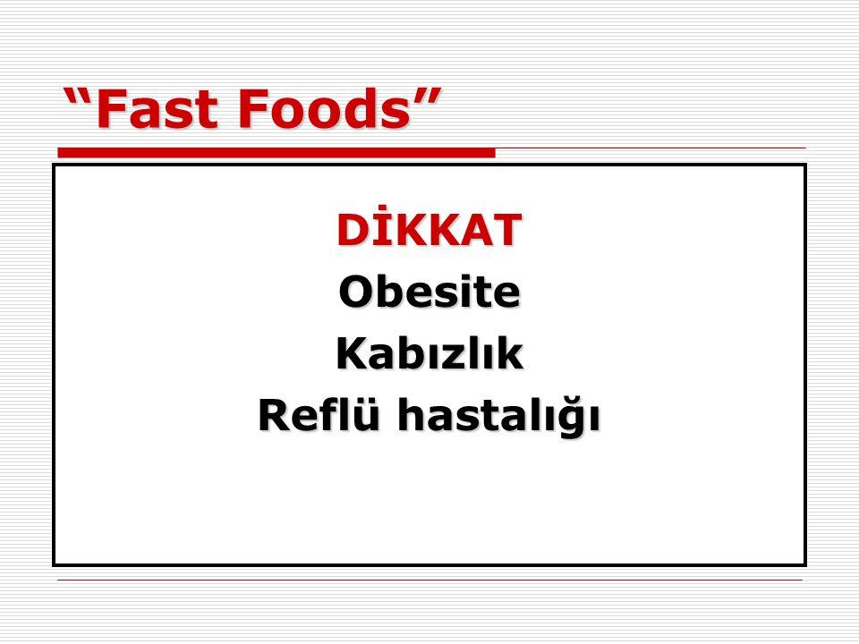 Fast Foods DİKKAT Obesite Kabızlık Reflü hastalığı