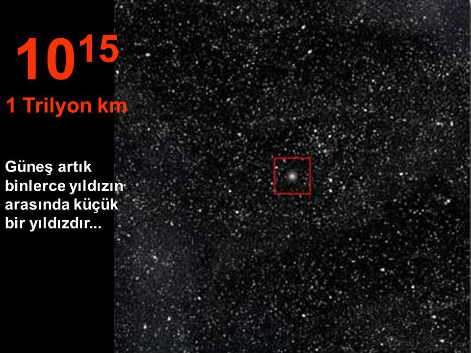 1015 1 Trilyon km Güneş artık binlerce yıldızın arasında küçük bir yıldızdır...