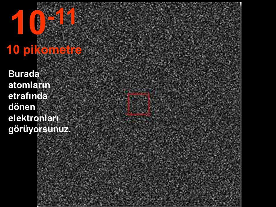 10-11 10 pikometre Burada atomların etrafında dönen elektronları görüyorsunuz.
