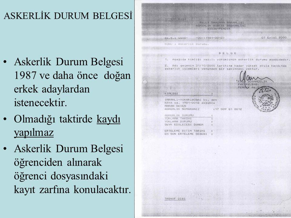 ASKERLİK DURUM BELGESİ