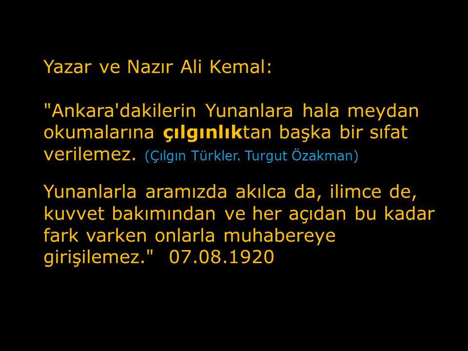Yazar ve Nazır Ali Kemal: Ankara dakilerin Yunanlara hala meydan okumalarına çılgınlıktan başka bir sıfat verilemez. (Çılgın Türkler. Turgut Özakman)