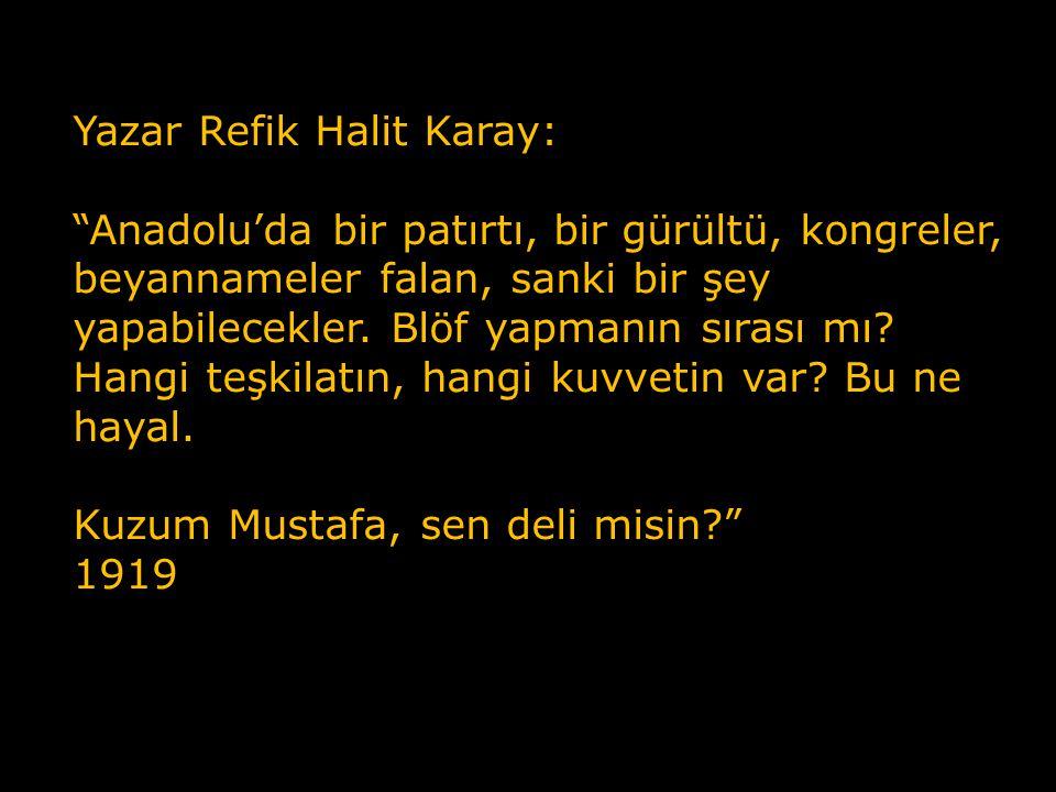 Yazar Refik Halit Karay: Anadolu'da bir patırtı, bir gürültü, kongreler, beyannameler falan, sanki bir şey yapabilecekler. Blöf yapmanın sırası mı Hangi teşkilatın, hangi kuvvetin var Bu ne hayal.