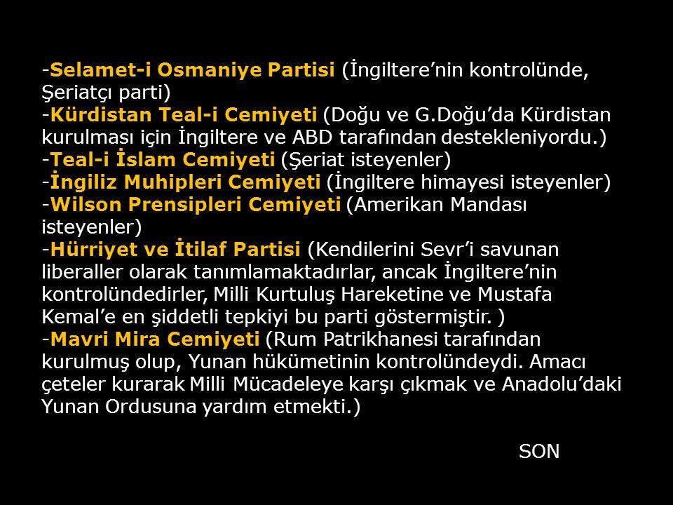 -Selamet-i Osmaniye Partisi (İngiltere'nin kontrolünde, Şeriatçı parti) -Kürdistan Teal-i Cemiyeti (Doğu ve G.Doğu'da Kürdistan kurulması için İngiltere ve ABD tarafından destekleniyordu.) -Teal-i İslam Cemiyeti (Şeriat isteyenler) -İngiliz Muhipleri Cemiyeti (İngiltere himayesi isteyenler) -Wilson Prensipleri Cemiyeti (Amerikan Mandası isteyenler) -Hürriyet ve İtilaf Partisi (Kendilerini Sevr'i savunan liberaller olarak tanımlamaktadırlar, ancak İngiltere'nin kontrolündedirler, Milli Kurtuluş Hareketine ve Mustafa Kemal'e en şiddetli tepkiyi bu parti göstermiştir. ) -Mavri Mira Cemiyeti (Rum Patrikhanesi tarafından kurulmuş olup, Yunan hükümetinin kontrolündeydi. Amacı çeteler kurarak Milli Mücadeleye karşı çıkmak ve Anadolu'daki Yunan Ordusuna yardım etmekti.)