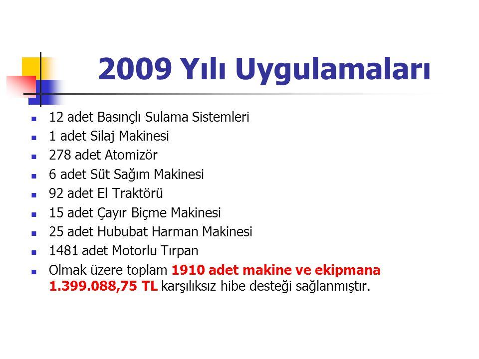 2009 Yılı Uygulamaları 12 adet Basınçlı Sulama Sistemleri