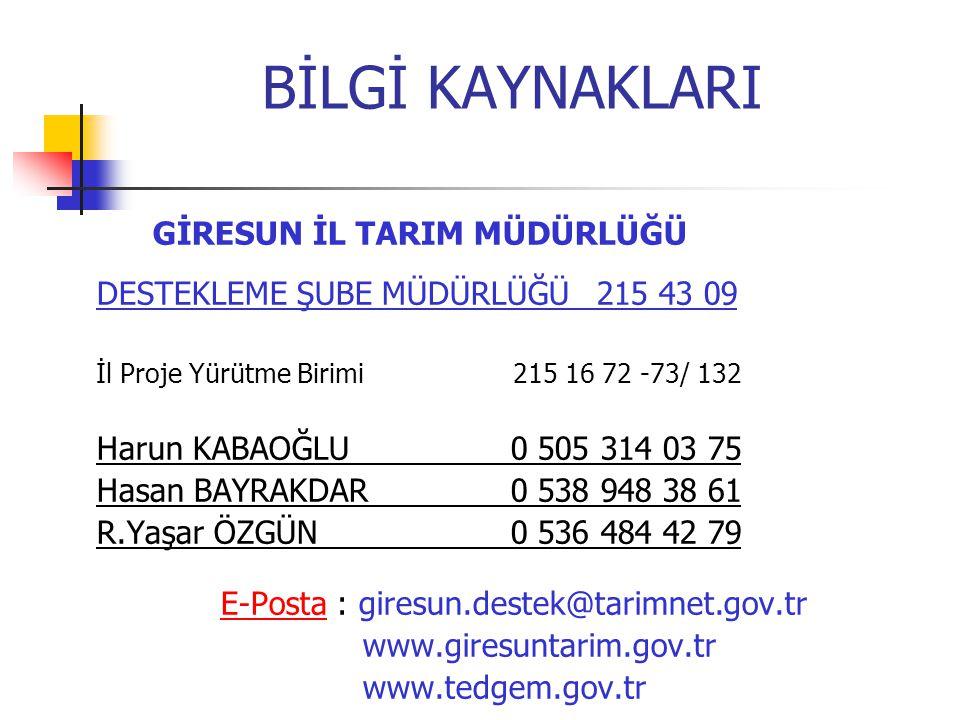 E-Posta : giresun.destek@tarimnet.gov.tr