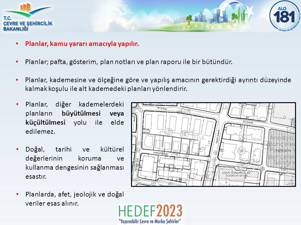 Planlar, kamu yararı amacıyla yapılır.