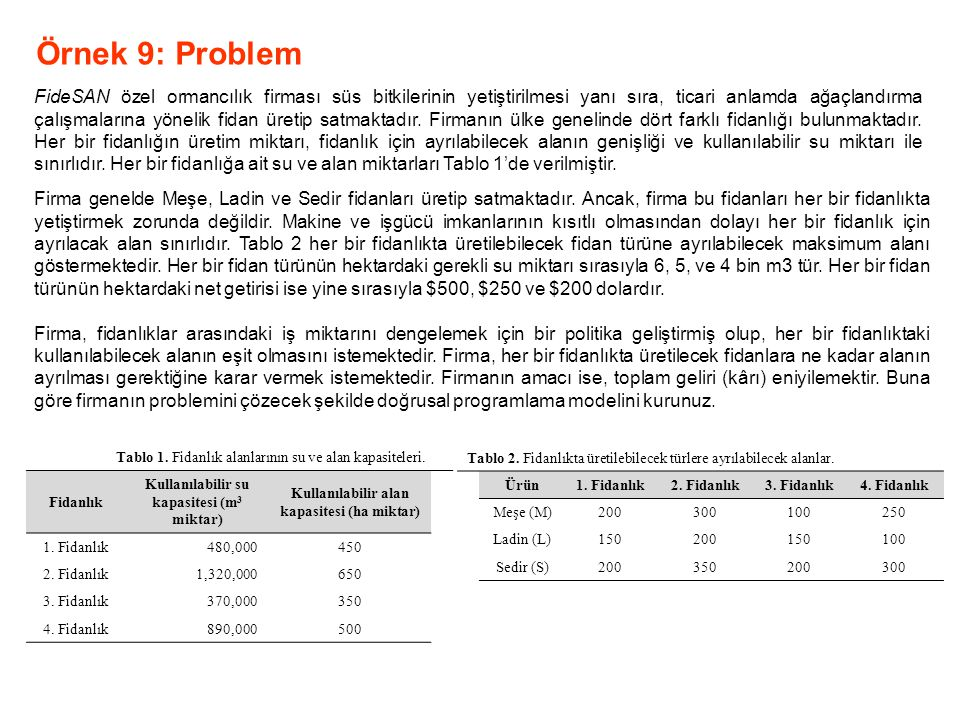 Örnek 9: Problem