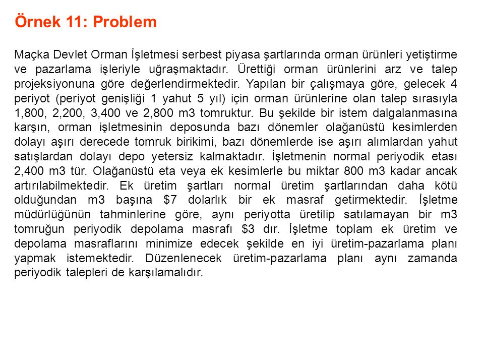 Örnek 11: Problem