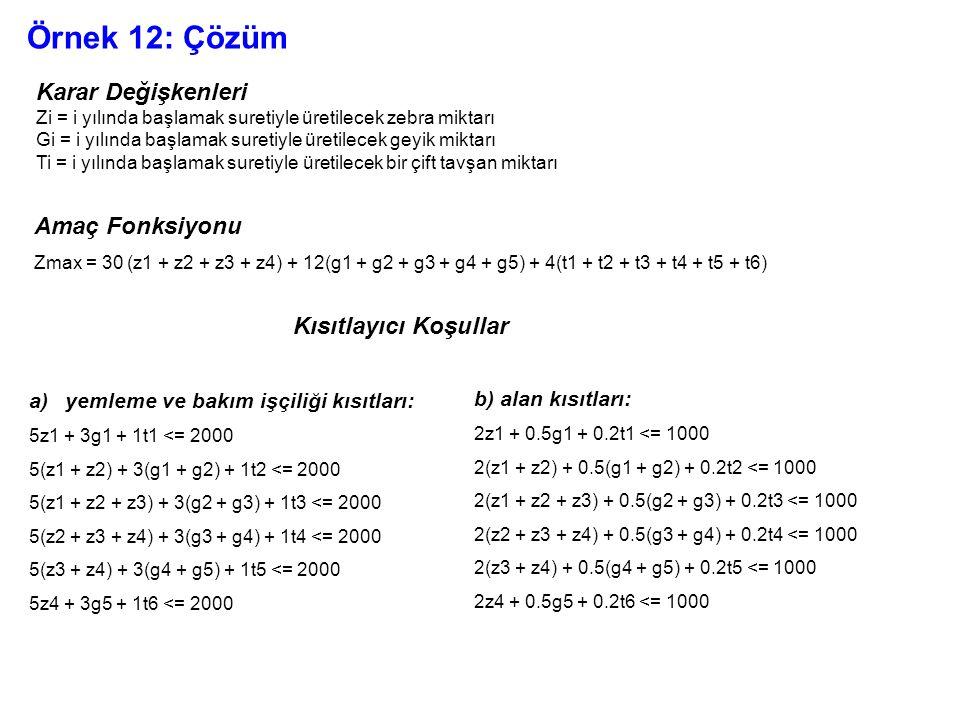 Örnek 12: Çözüm Karar Değişkenleri Amaç Fonksiyonu