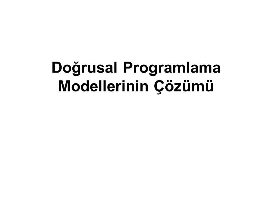 Doğrusal Programlama Modellerinin Çözümü