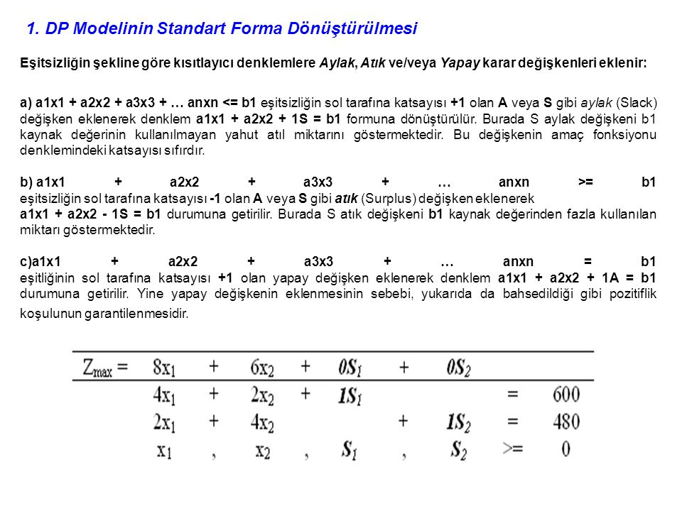 1. DP Modelinin Standart Forma Dönüştürülmesi