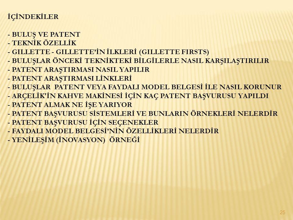 İÇİNDEKİLER - BULUŞ VE PATENT.