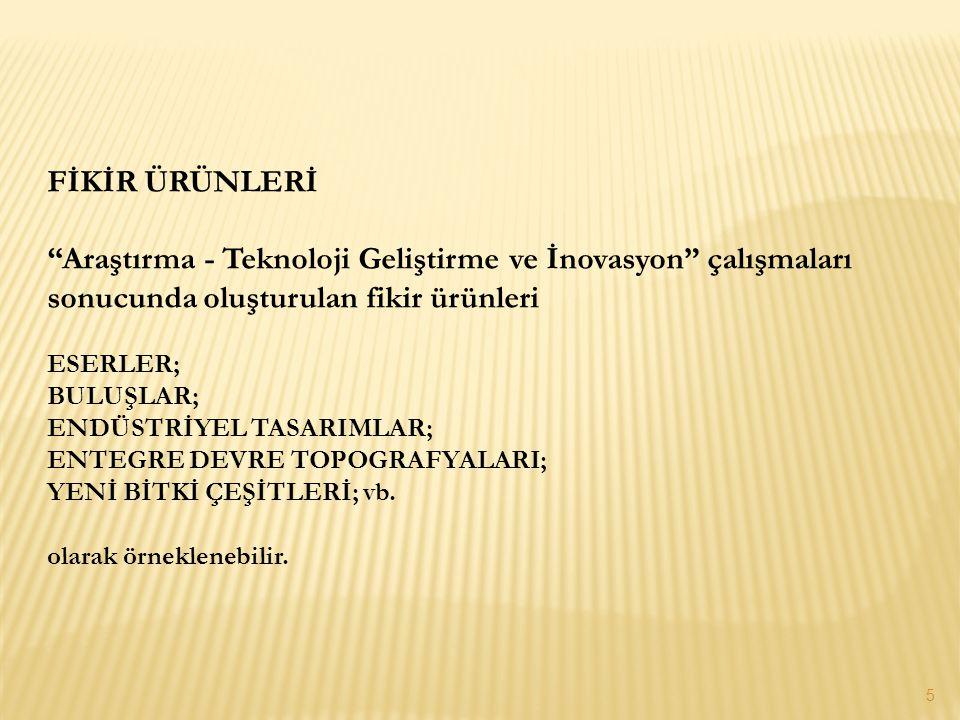 FİKİR ÜRÜNLERİ Araştırma - Teknoloji Geliştirme ve İnovasyon çalışmaları sonucunda oluşturulan fikir ürünleri.