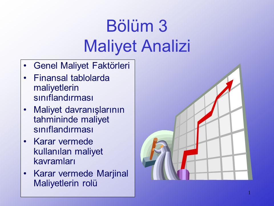 Bölüm 3 Maliyet Analizi Genel Maliyet Faktörleri