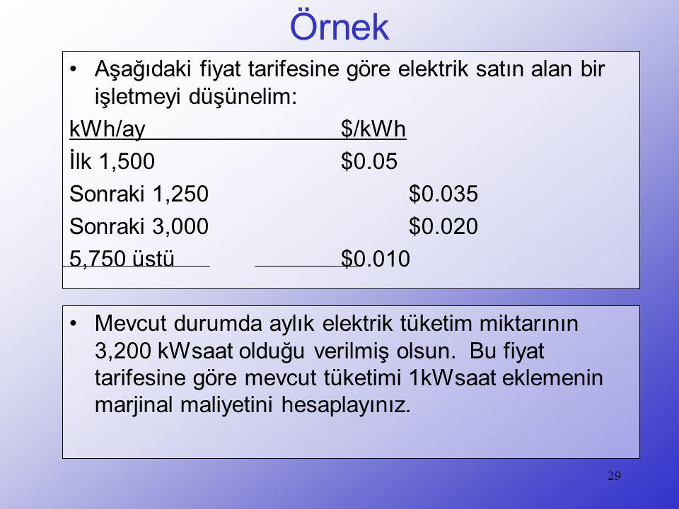 Örnek Aşağıdaki fiyat tarifesine göre elektrik satın alan bir işletmeyi düşünelim: kWh/ay $/kWh.