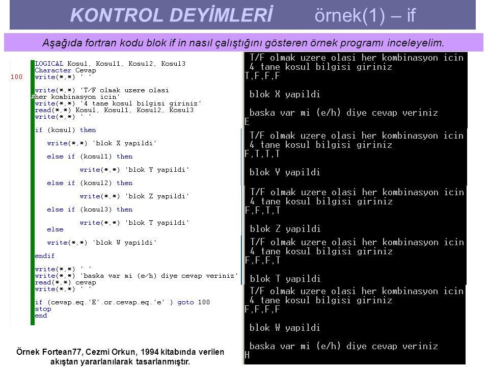 KONTROL DEYİMLERİ örnek(1) – if