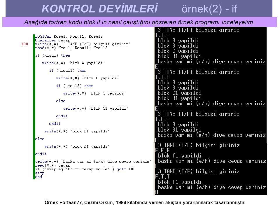 KONTROL DEYİMLERİ örnek(2) - if