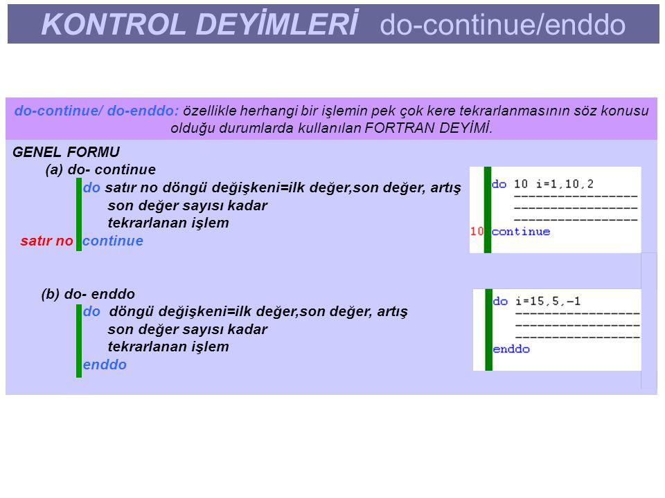 KONTROL DEYİMLERİ do-continue/enddo