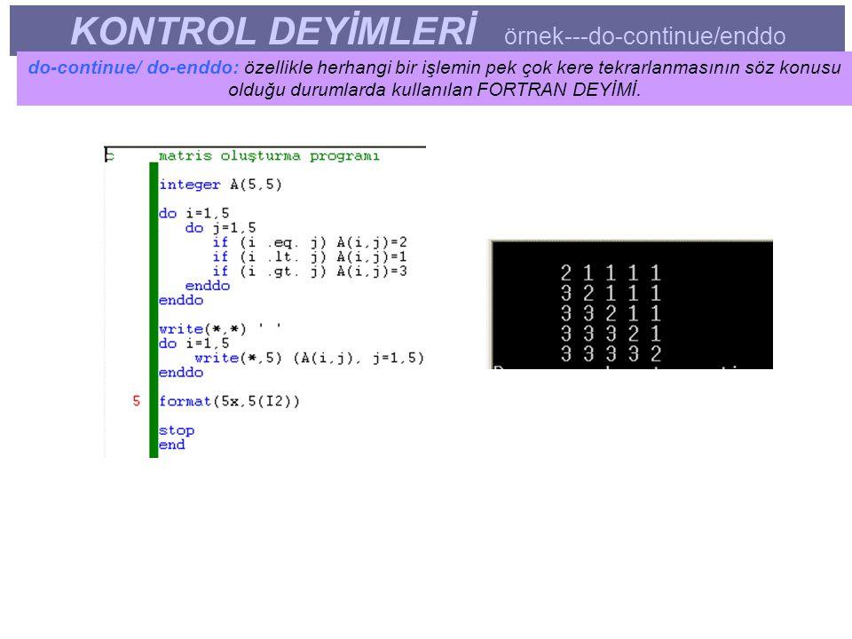 KONTROL DEYİMLERİ örnek---do-continue/enddo