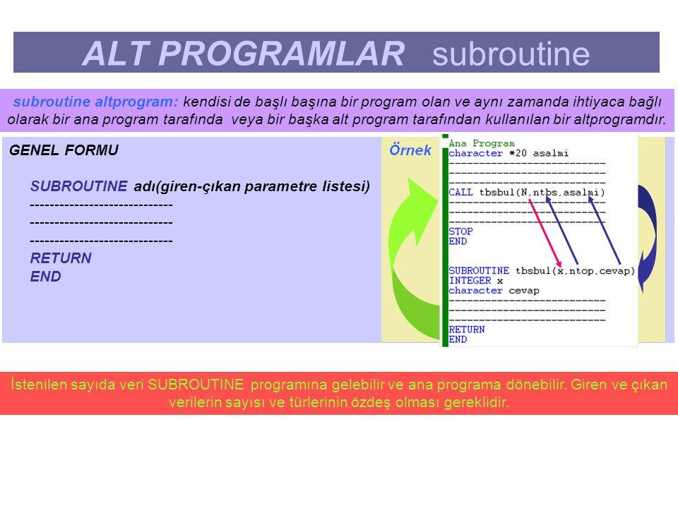 ALT PROGRAMLAR subroutine