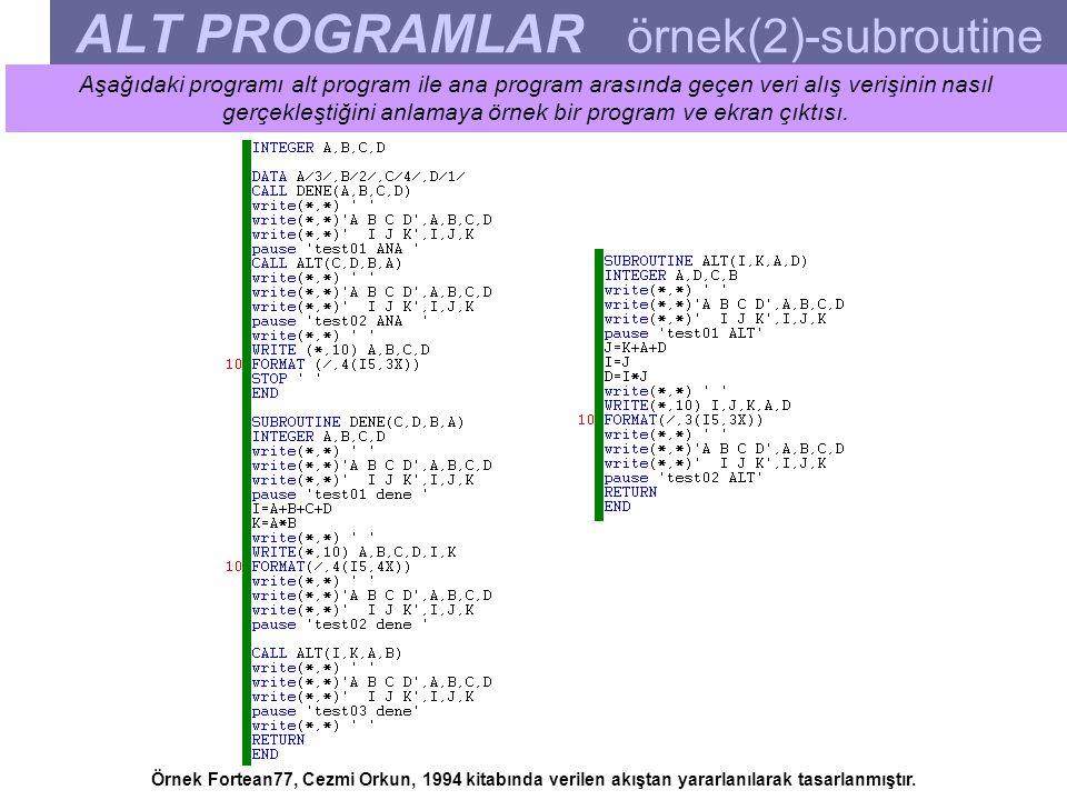 ALT PROGRAMLAR örnek(2)-subroutine