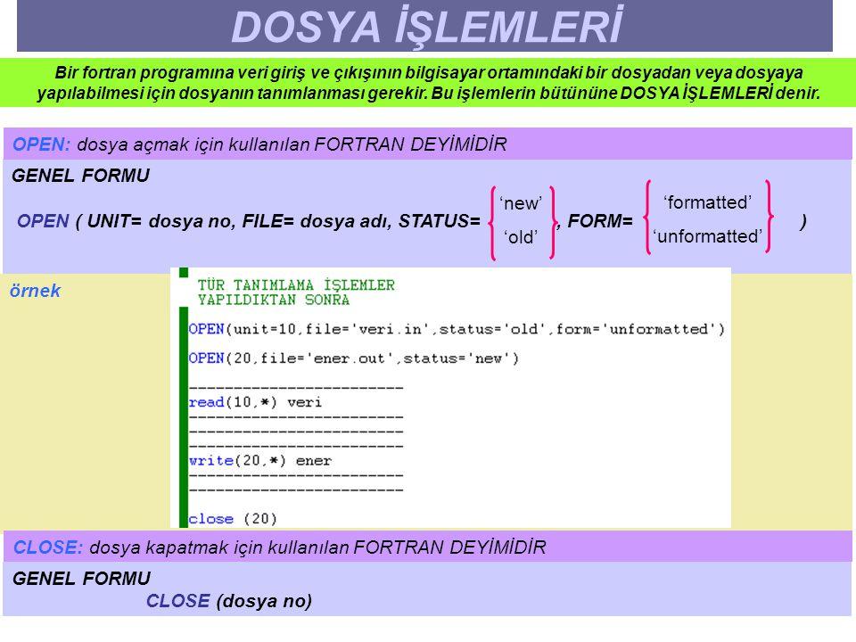 DOSYA İŞLEMLERİ OPEN: dosya açmak için kullanılan FORTRAN DEYİMİDİR