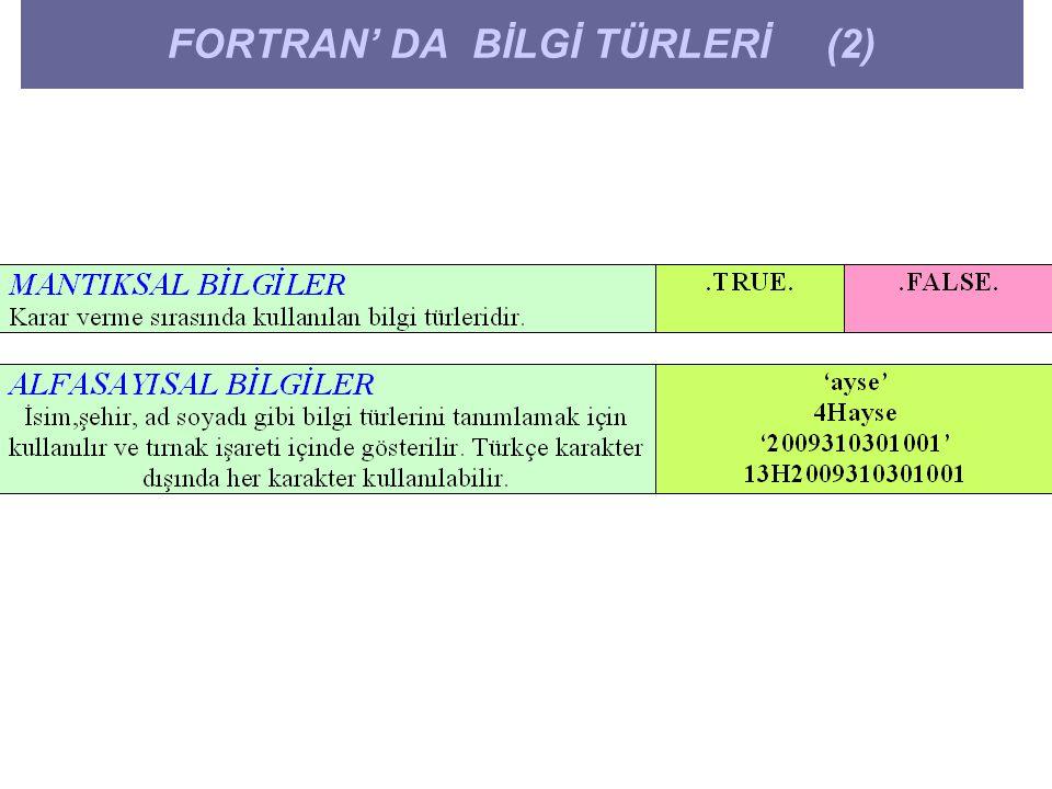 FORTRAN' DA BİLGİ TÜRLERİ (2)