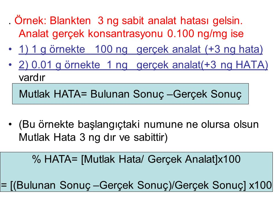 1) 1 g örnekte 100 ng gerçek analat (+3 ng hata)