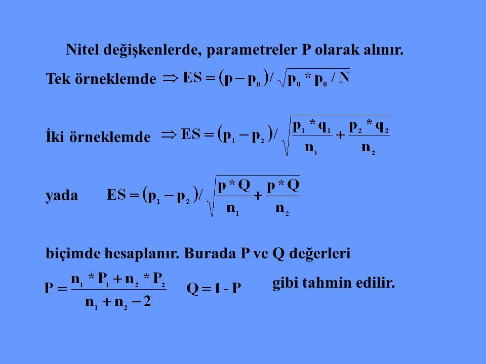 Nitel değişkenlerde, parametreler P olarak alınır.