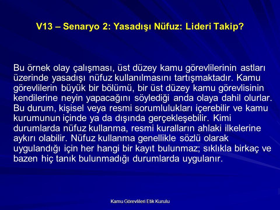 V13 – Senaryo 2: Yasadışı Nüfuz: Lideri Takip