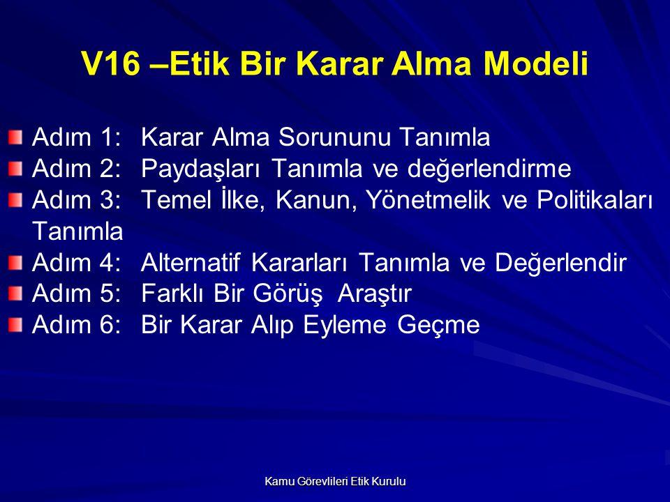 V16 –Etik Bir Karar Alma Modeli