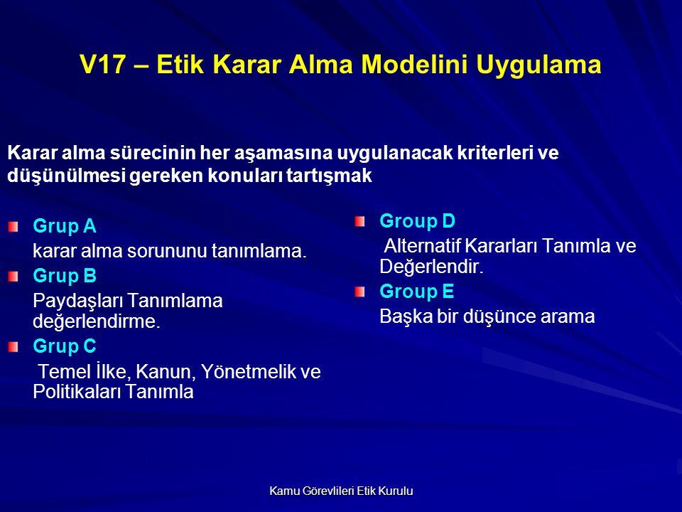 V17 – Etik Karar Alma Modelini Uygulama
