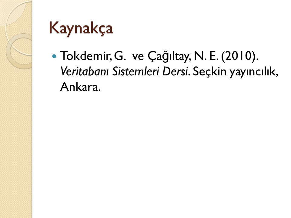 Kaynakça Tokdemir, G. ve Çağıltay, N. E. (2010).